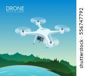 drone with remote control... | Shutterstock .eps vector #556747792