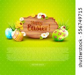 cute easter greeting card with... | Shutterstock .eps vector #556749715