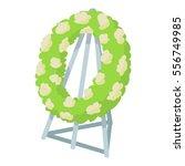 Memorial Wreath Icon. Cartoon...