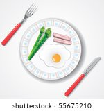 fried egg  bacon and green... | Shutterstock .eps vector #55675210