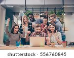 yes  happy multinational young...   Shutterstock . vector #556760845