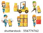 young female warehouse worker... | Shutterstock .eps vector #556774762