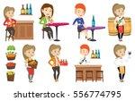 young caucasian bartender... | Shutterstock .eps vector #556774795