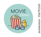 popcorn bucket  film ticket and ... | Shutterstock .eps vector #556792165