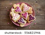 glazed heart shaped cookies for ... | Shutterstock . vector #556821946