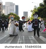 Small photo of MEXICO CITY - OCTOBER 29, 2016 : Day of the dead parade in Paseo de la Reforma avenue, Mexico City