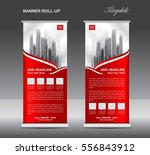 red roll up banner template... | Shutterstock .eps vector #556843912