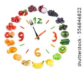 food clock with of fruits and... | Shutterstock . vector #556846822