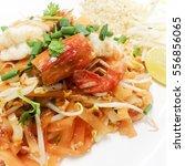 fried rice sticks with shrimp | Shutterstock . vector #556856065