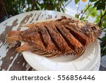 fried fish in the plate on the... | Shutterstock . vector #556856446