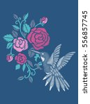 rose embroidery design and... | Shutterstock .eps vector #556857745