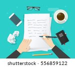 Writer writing on paper sheet vector illustration, flat cartoon person hands with pen on working table with text, workplace top view, desktop with writing letter, journalist author workspace
