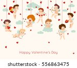 Stock vector valentines day greeting card with hanging cupid vector illustration 556863475