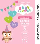 cute owl with balloons for baby ... | Shutterstock .eps vector #556899286