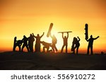 group of happy friends skiers... | Shutterstock . vector #556910272
