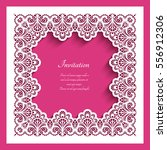square frame with lace border... | Shutterstock .eps vector #556912306
