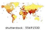detailed vector world map of... | Shutterstock .eps vector #55691530