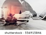double exposure of justice and... | Shutterstock . vector #556915846