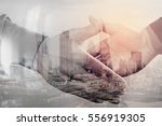 double exposure of business... | Shutterstock . vector #556919305