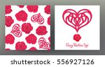 set of seamless patterns and... | Shutterstock .eps vector #556927126
