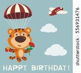 happy birthday  funny tiger fly ... | Shutterstock .eps vector #556931476