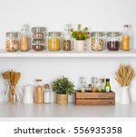 Modern Kitchen Shelves With...