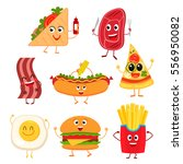 smiley fast food funny elements ... | Shutterstock .eps vector #556950082