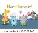 Cute Birthday Card With Animal...