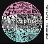 summertime badge with hawaiian... | Shutterstock .eps vector #556966552