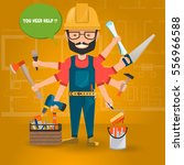 construction worker with hand... | Shutterstock .eps vector #556966588