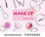 cosmetics set and makeup artist ... | Shutterstock .eps vector #556968382