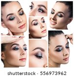 collage of young woman with... | Shutterstock . vector #556973962