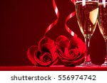 champagne and heart shaped... | Shutterstock . vector #556974742