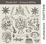 criminal tattoo doodle set | Shutterstock .eps vector #556975348