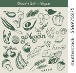 vegan food doodle set | Shutterstock .eps vector #556975375
