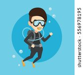 caucasian woman diving with... | Shutterstock .eps vector #556978195