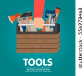 repairman holding toolbox.... | Shutterstock .eps vector #556978468