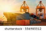 container ship in export and... | Shutterstock . vector #556985512