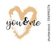brush drawing calligraphy heart ... | Shutterstock .eps vector #556990276