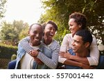 two young adult black couples... | Shutterstock . vector #557001442