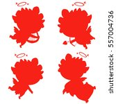 red silhouette of angel or... | Shutterstock .eps vector #557004736