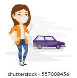 young caucasian woman standing... | Shutterstock .eps vector #557008456