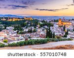 Alhambra of Granada, Spain. Alhambra fortress and Albaicin quarter at twilight.