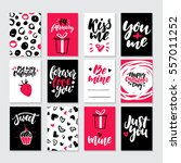 Stock vector valentines day gift card vector set hand drawn printable templates with lettering texture love 557011252