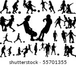 silhouettes of children in... | Shutterstock .eps vector #55701355