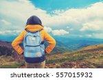 girl enjoying in the nature. | Shutterstock . vector #557015932