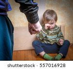 scared or terrified child boy... | Shutterstock . vector #557016928