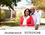 senior black couple look to... | Shutterstock . vector #557019148