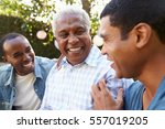 senior man talking with his... | Shutterstock . vector #557019205
