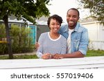 african american couple look to ... | Shutterstock . vector #557019406